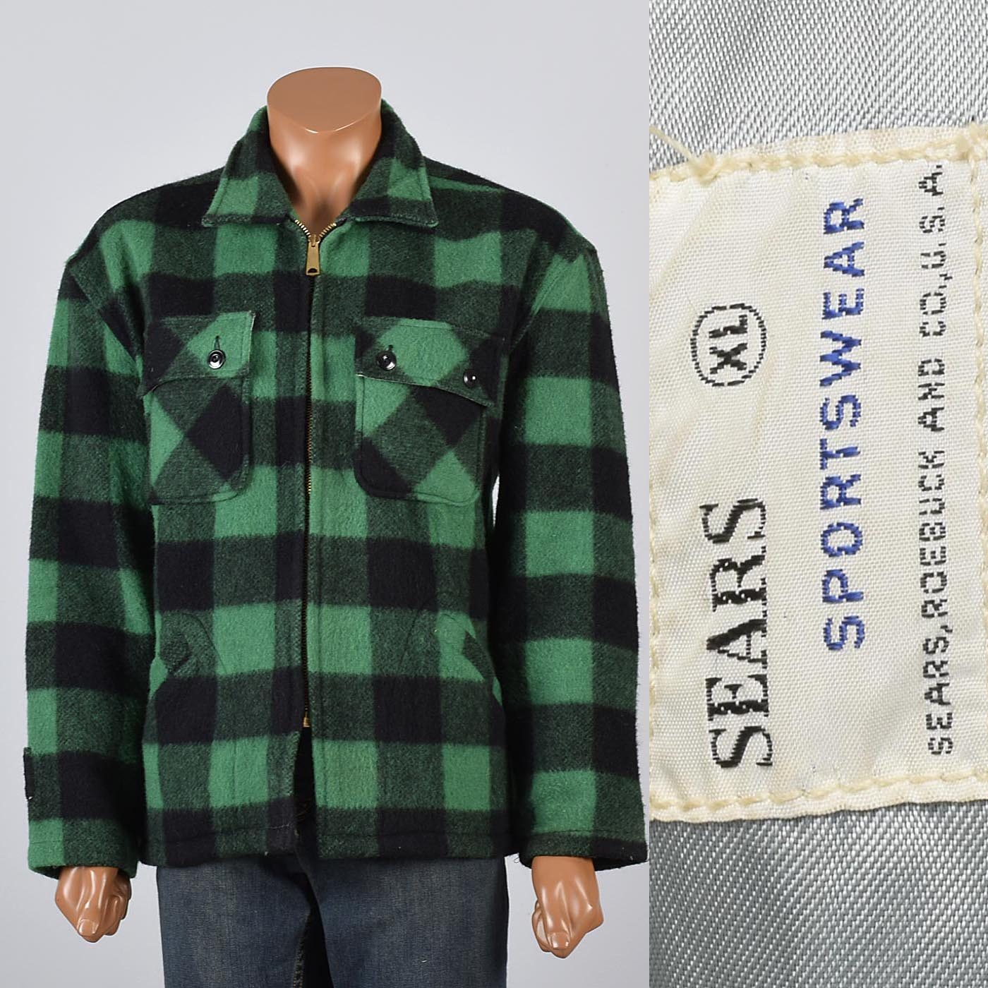 1950s Mens Green Amp Black Buffalo Check Wool Chore Jacket