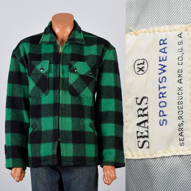 1950s Mens Green & Black Buffalo Check Wool Chore Jacket with a Zip Front