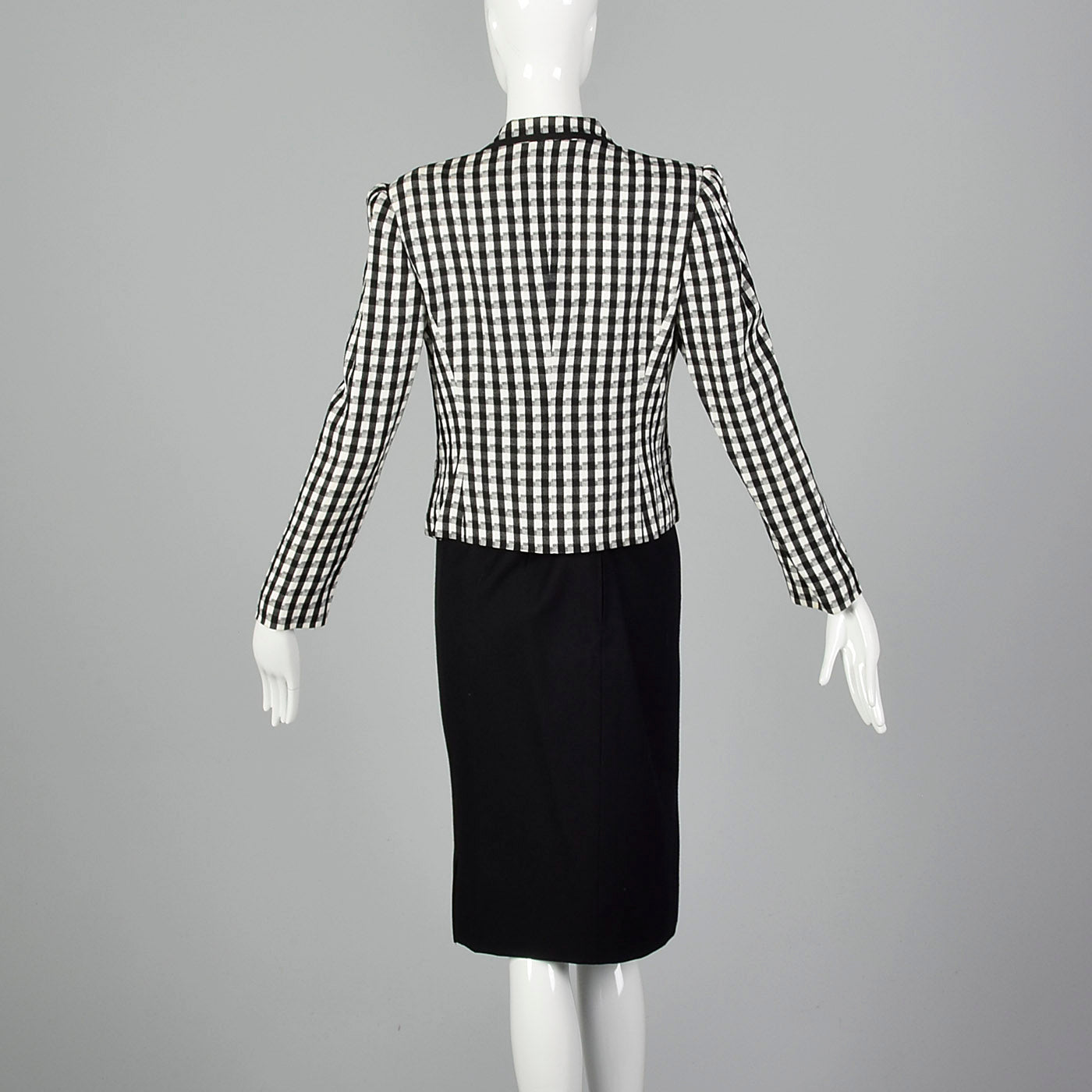 1980s Louis Feraud Black and White Checked Skirt Suit