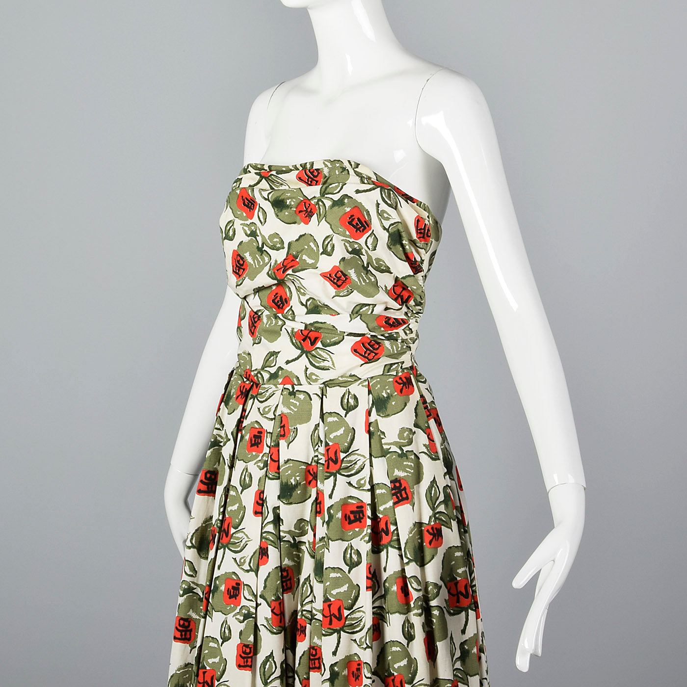 1950s Horrockses Novelty Print Strapless Dress