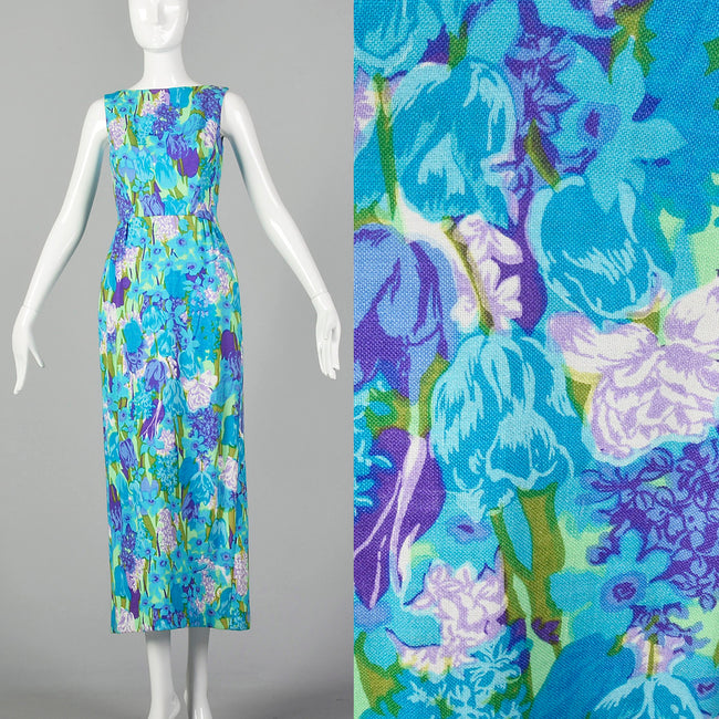Green, Purple, Blue Floral Maxi