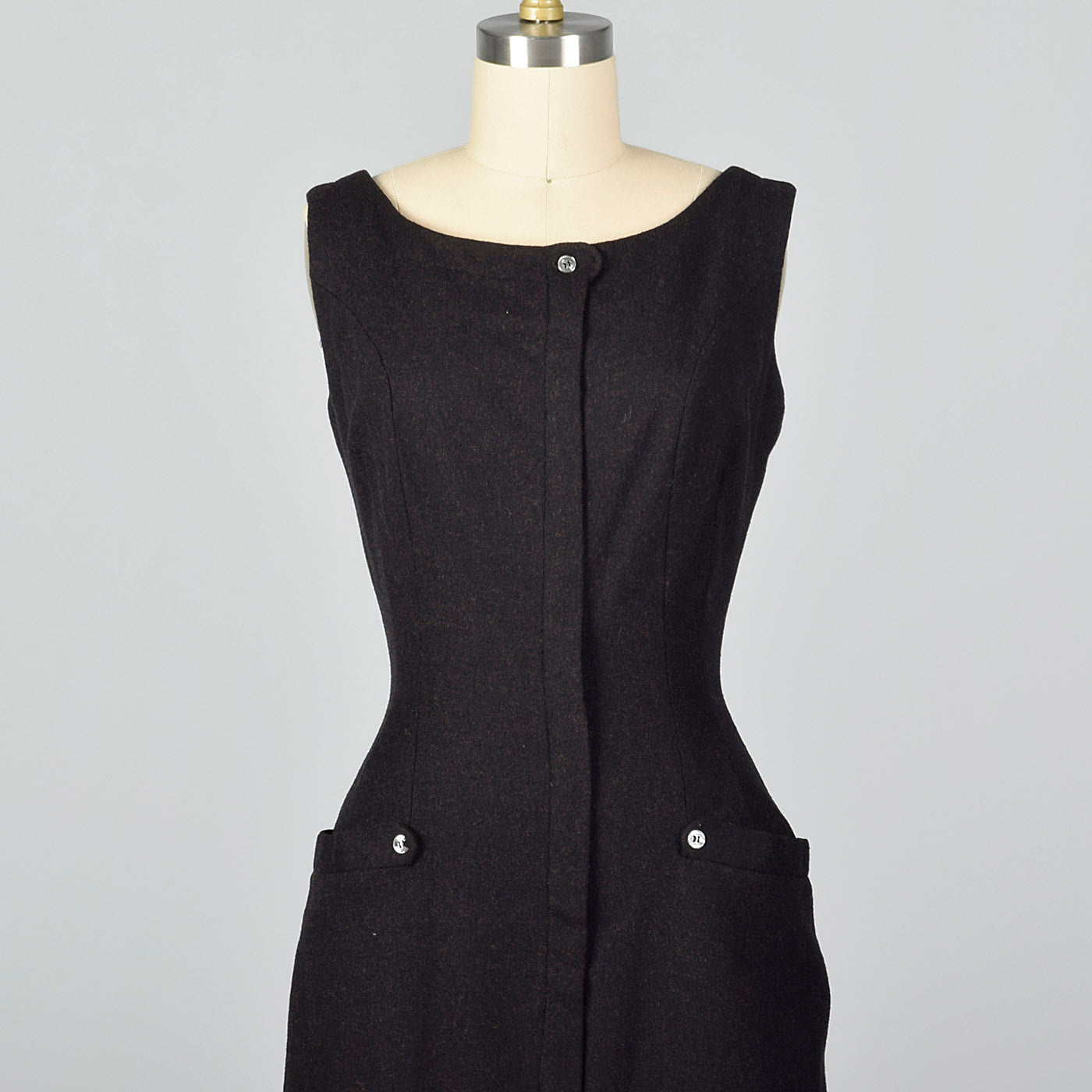1950s Brown and Black Wool Jumper Dress