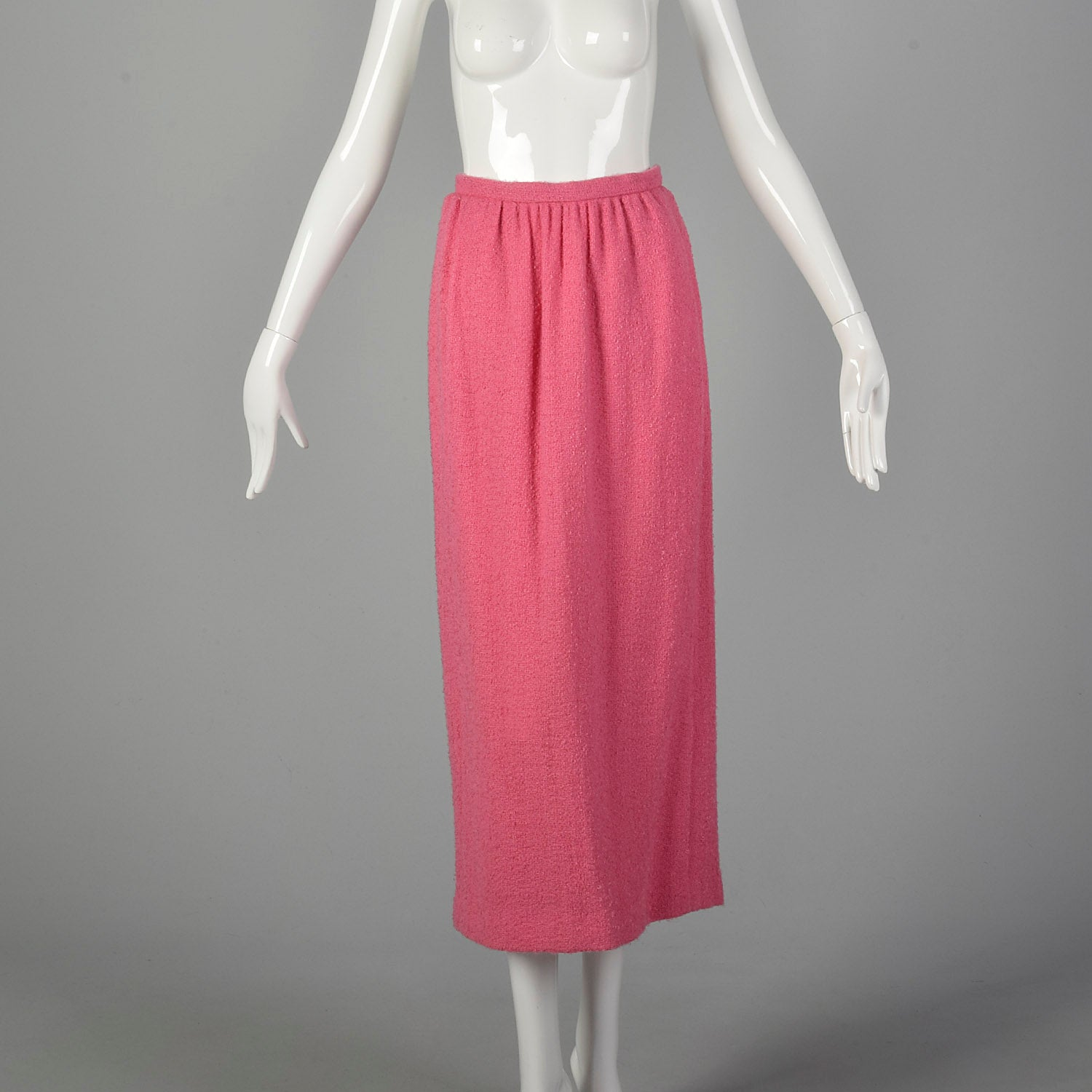 XS 1960s Pink Wool Tweed Top and Maxi Skirt Set
