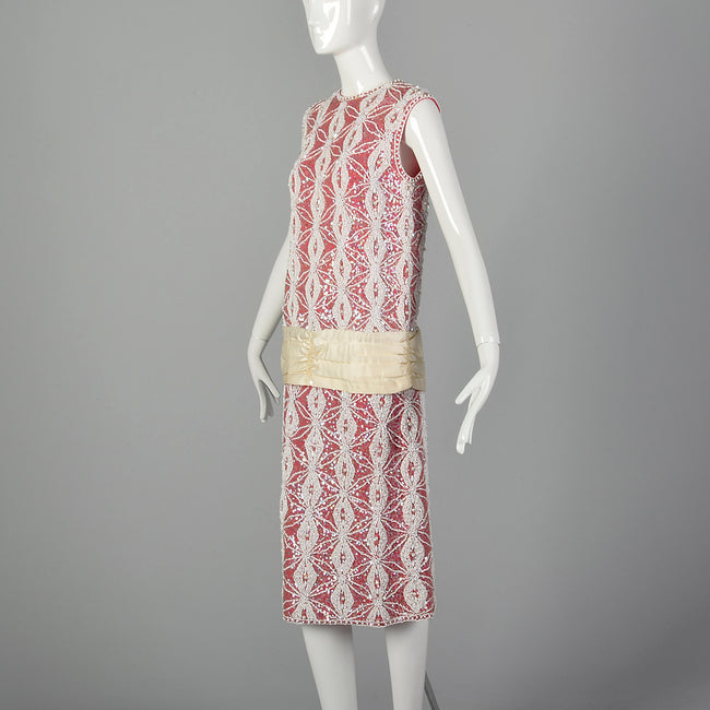 Small 1960s Hot Pink Beaded Top and Skirt Set
