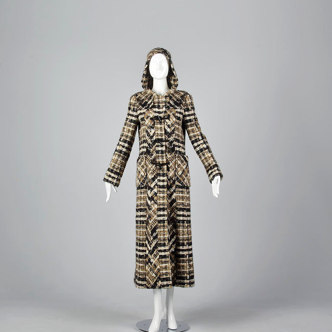 Chanel Full Length Tweed Maxi Coat with Toggle Closures & Hood
