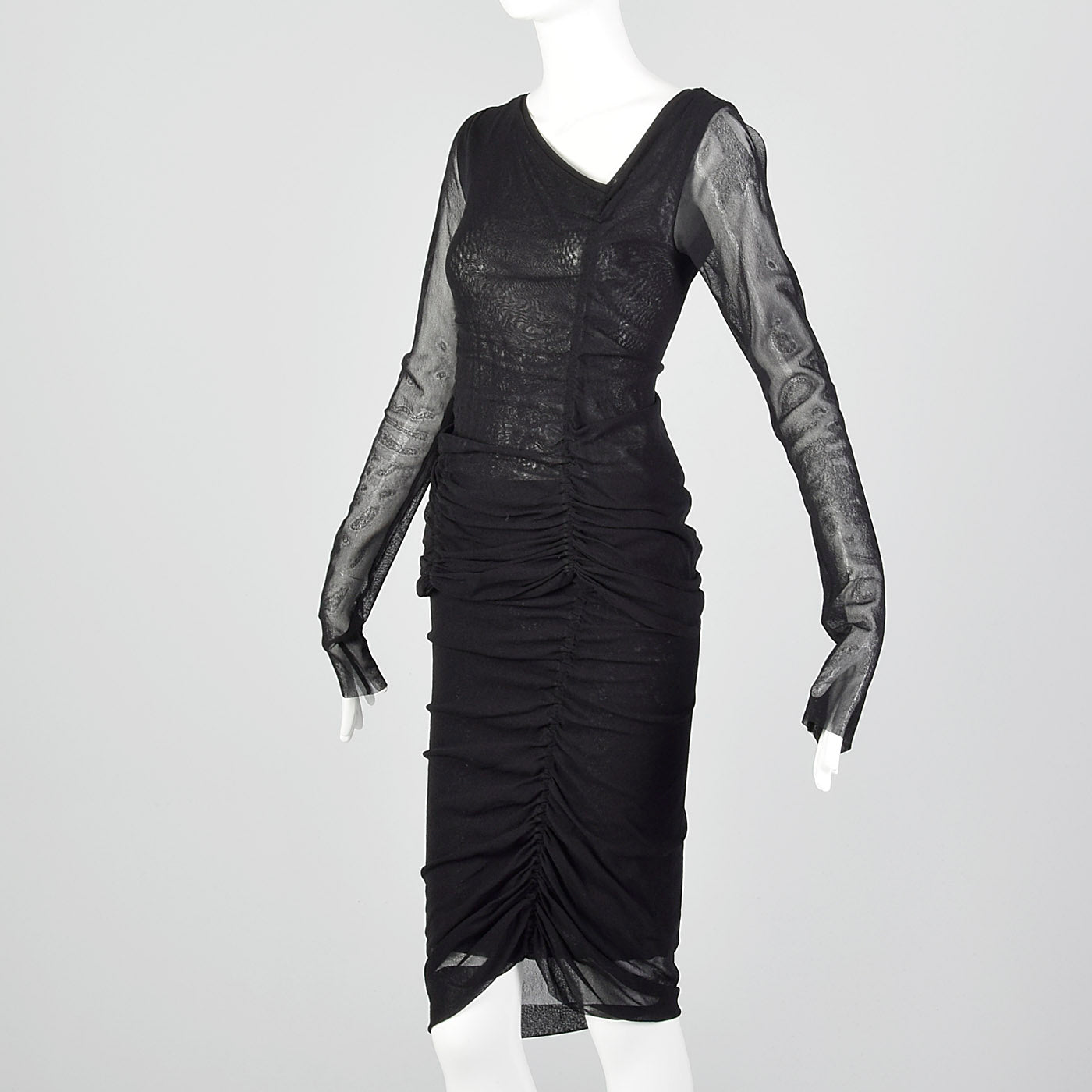 2000s Jean Paul Gaultier Black Mesh Skirt and Top