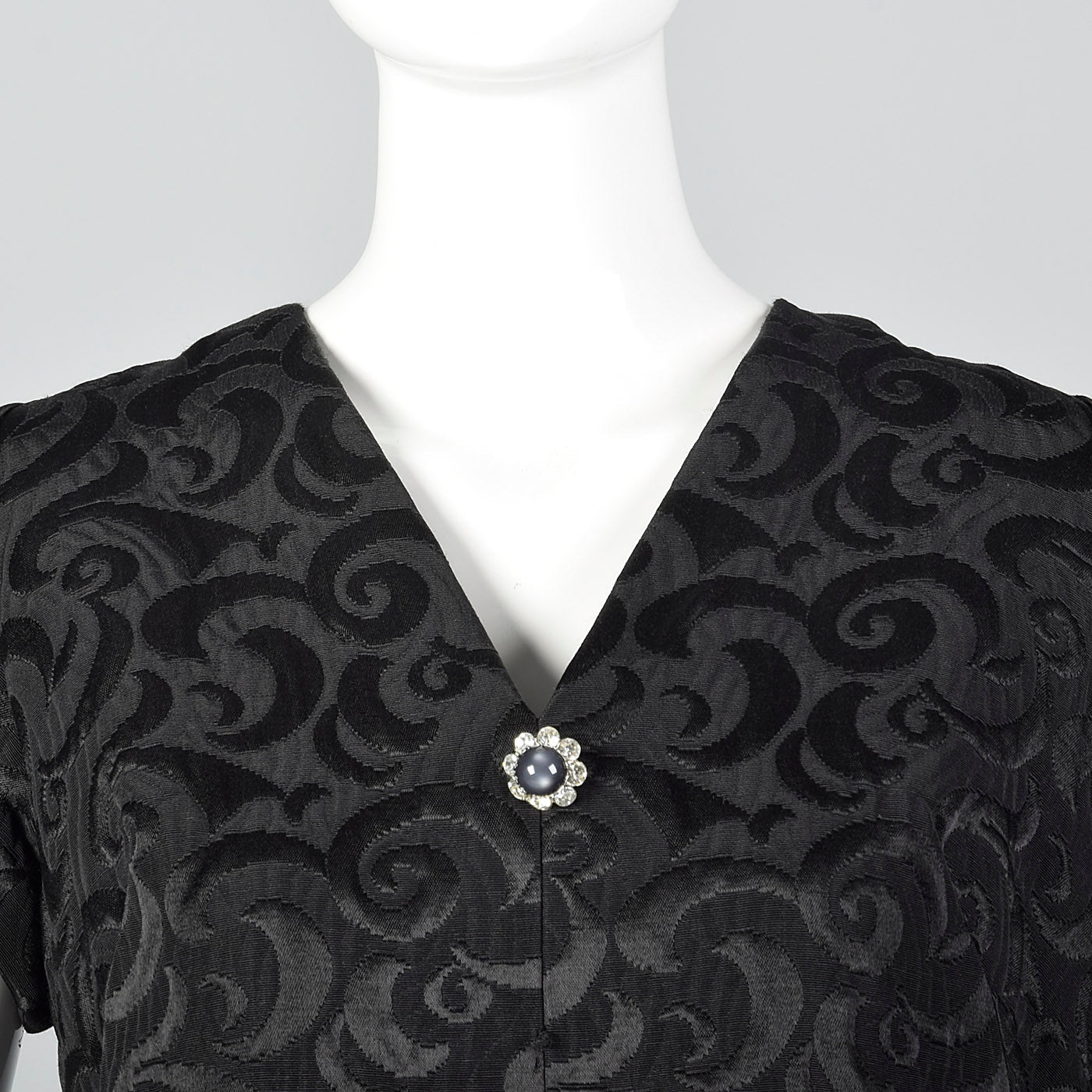 1960s Black Brocade Swing Dress