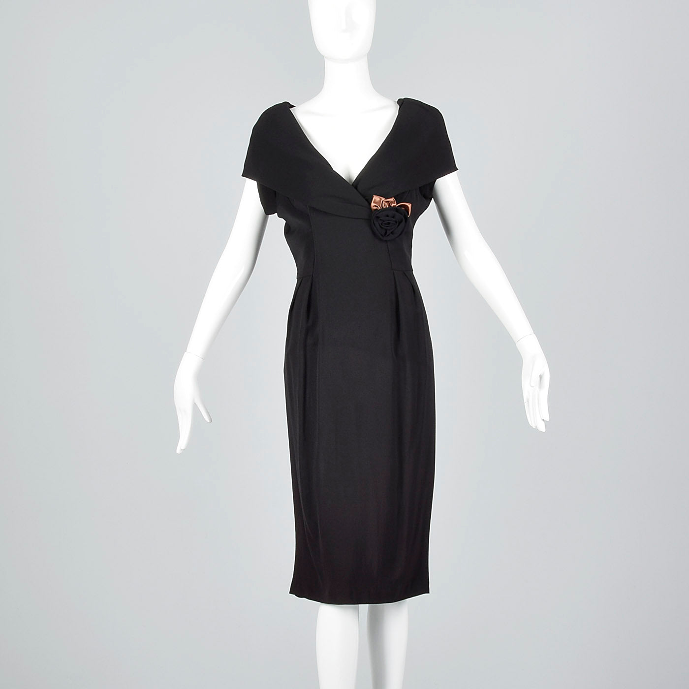 1950s Black Dress with Shawl Collar and Low Cut Front
