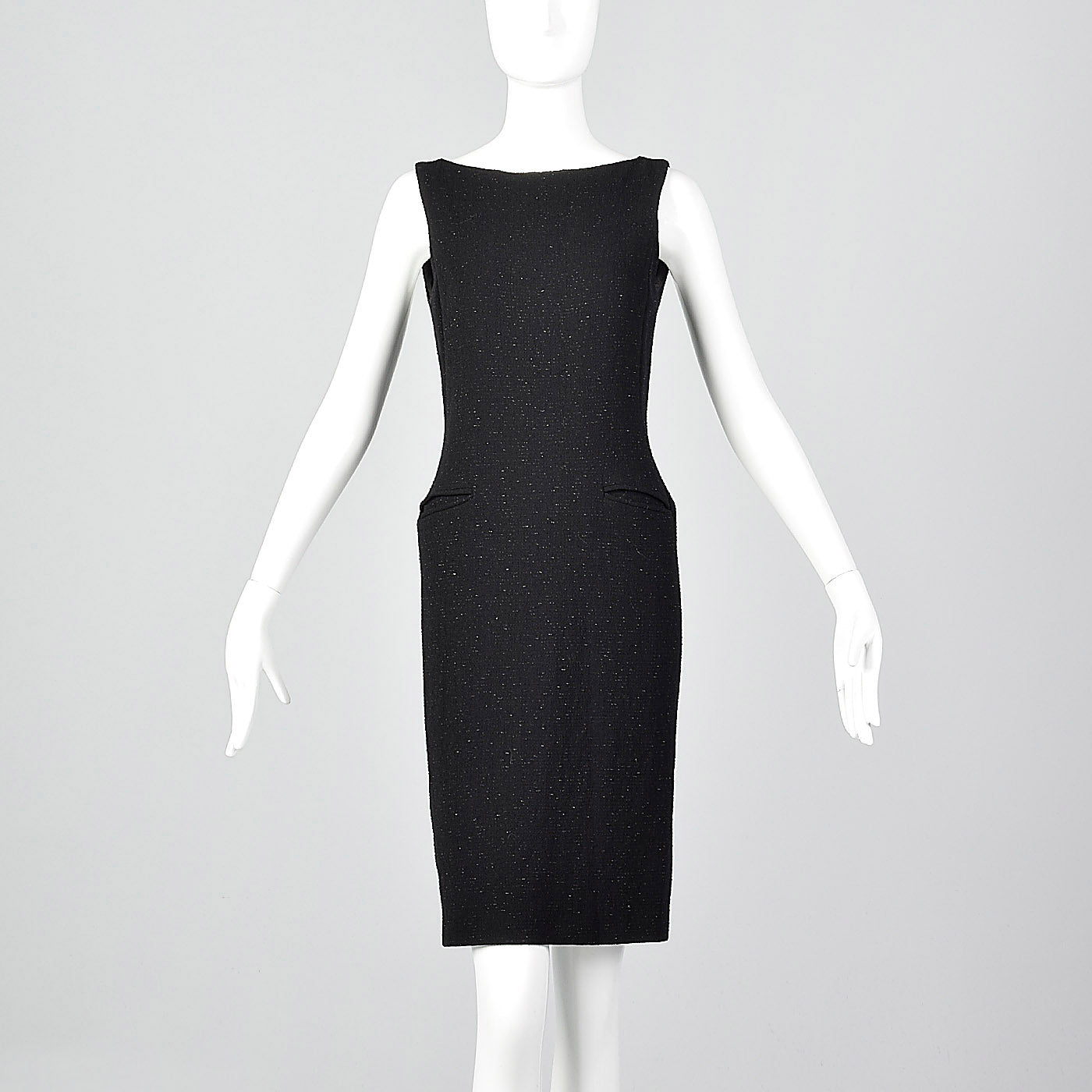 Moschino Cheap & Chic Tight Black Dress with Lurex Threads