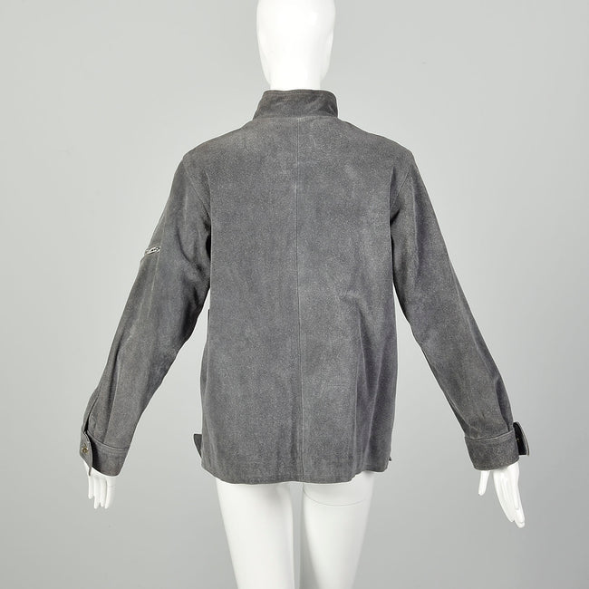 Medium 1970s Grey Suede Jacket With Faux Fur Lining
