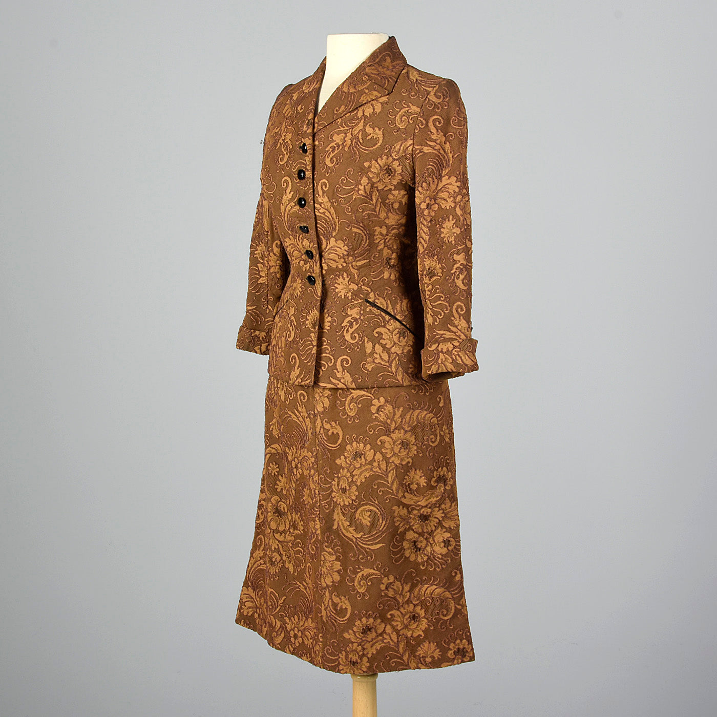 1950s Brown Lace Overlay Skirt Suit