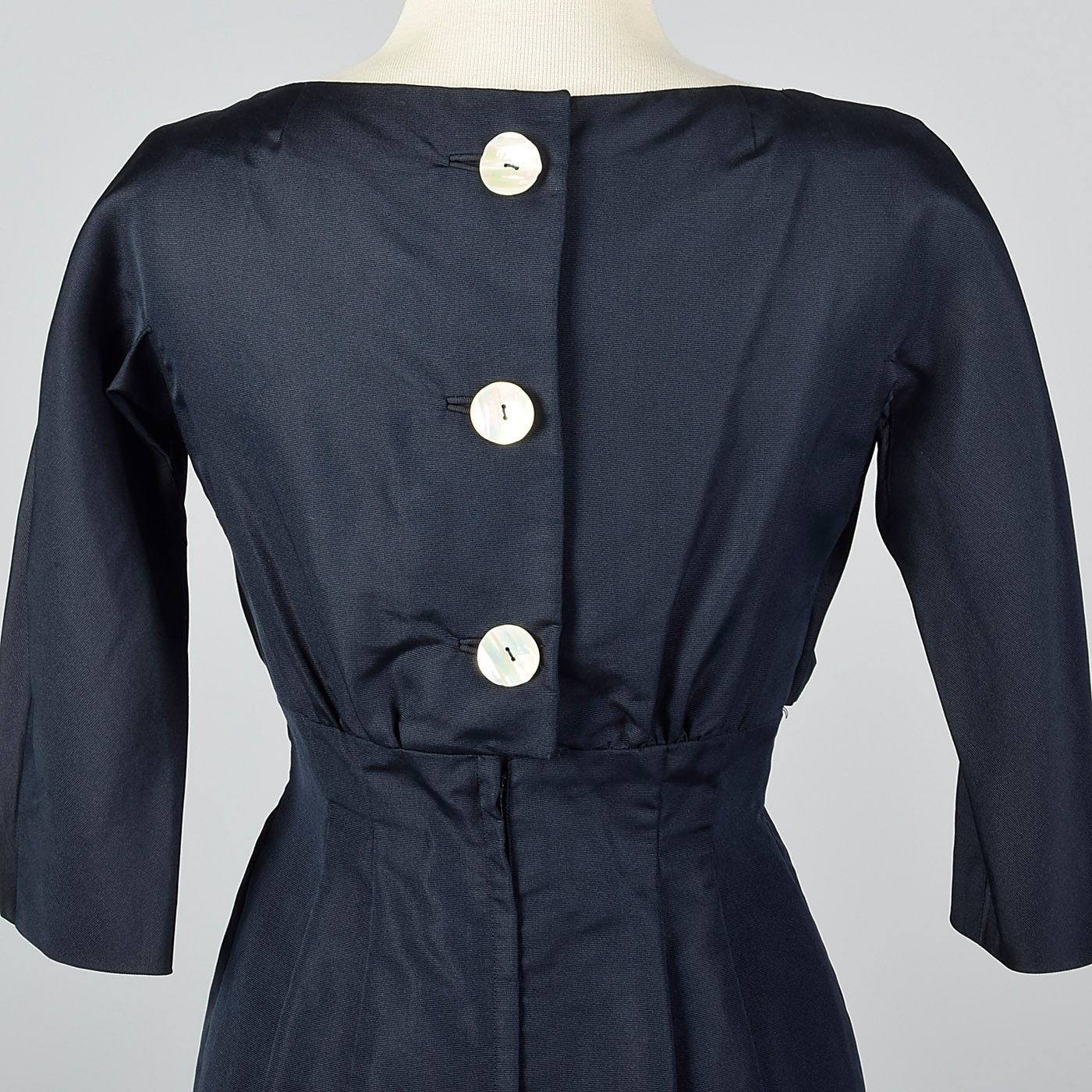 1950s Navy Blue Silk Dress with Mother of Pearl Buttons