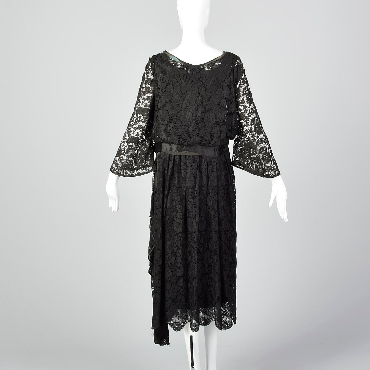 1920s Lace Dress with Hip Sash and Bell Sleeves