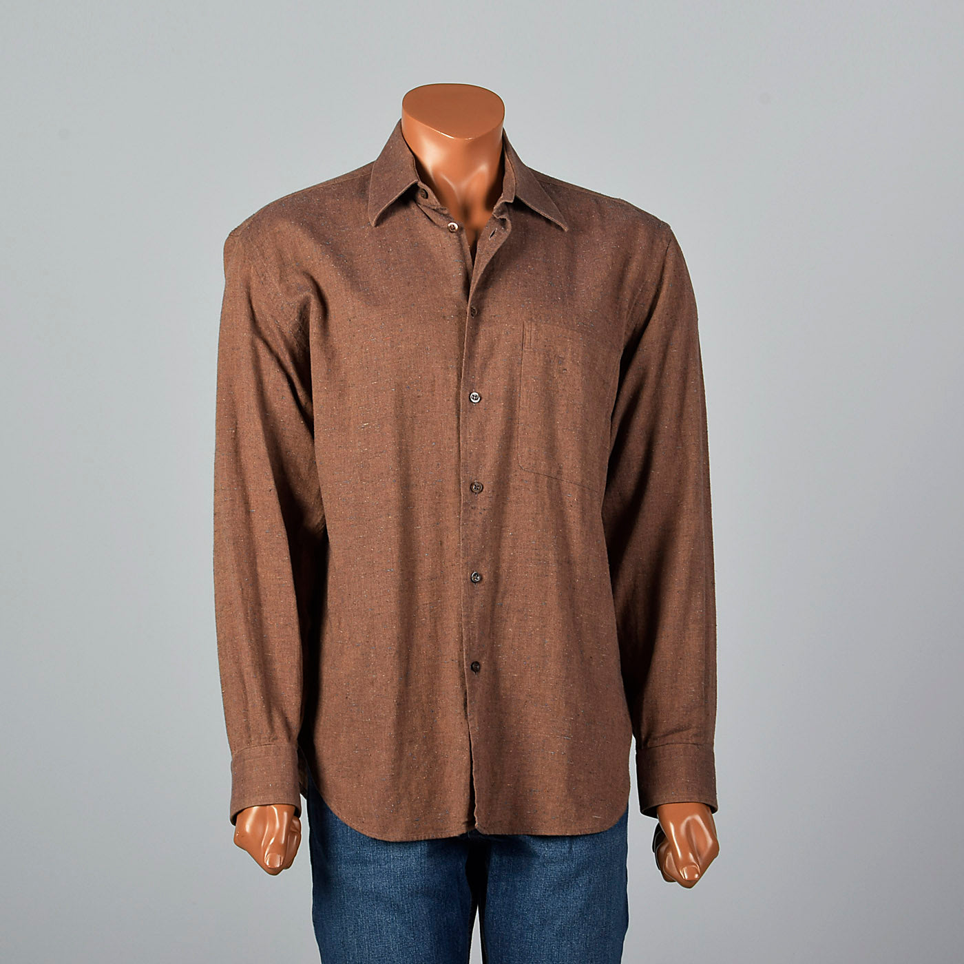 2000s Brown Shirt with Multicolor Flecks
