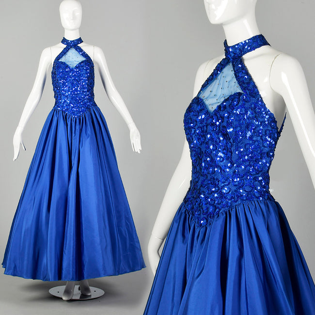 Small 1980s Ballgown Mike Bennet Dress Royal Blue Sequin Gown Prom Pageant Formal Event Full Skirt