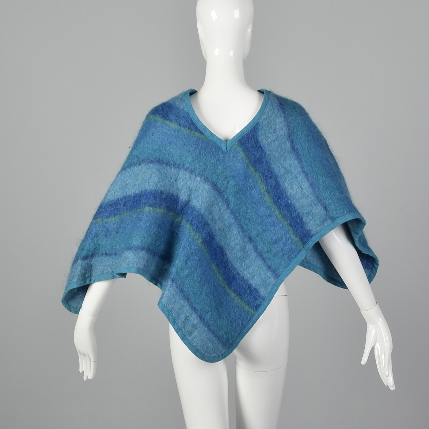1970s Blue Striped Poncho