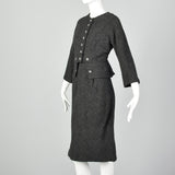 1960s James Galanos Two Piece Dress Set in Gray Wool Tweed