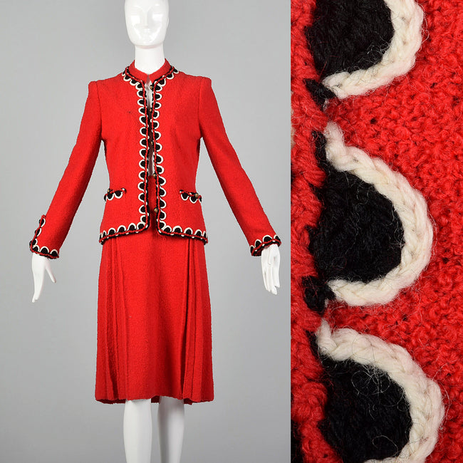 Small 1960s Adolfo Red Knit Skirt Suit