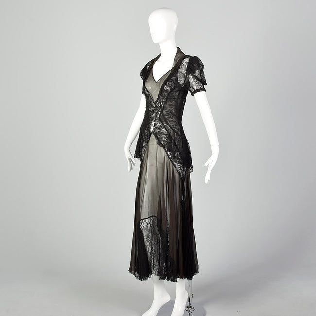 XS 1930s Sheer Black Silk and Lace Dress and Jacket
