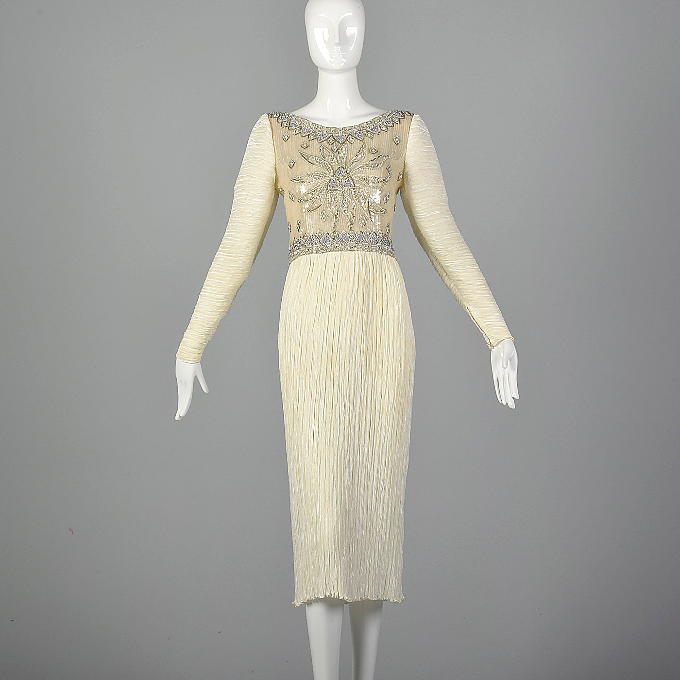 1970s Mary McFadden Couture Beaded and Pleated White Dress