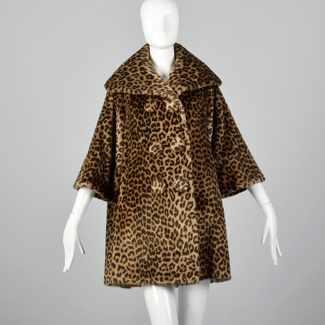 1950s Faux Fur Leopard Print Swing Coat