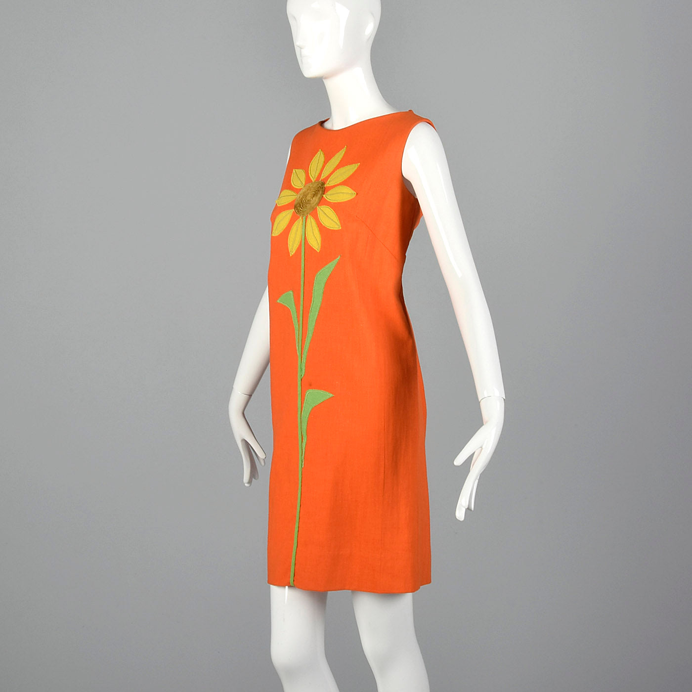 1960s Orange Shift Dress with Sunflower Applique