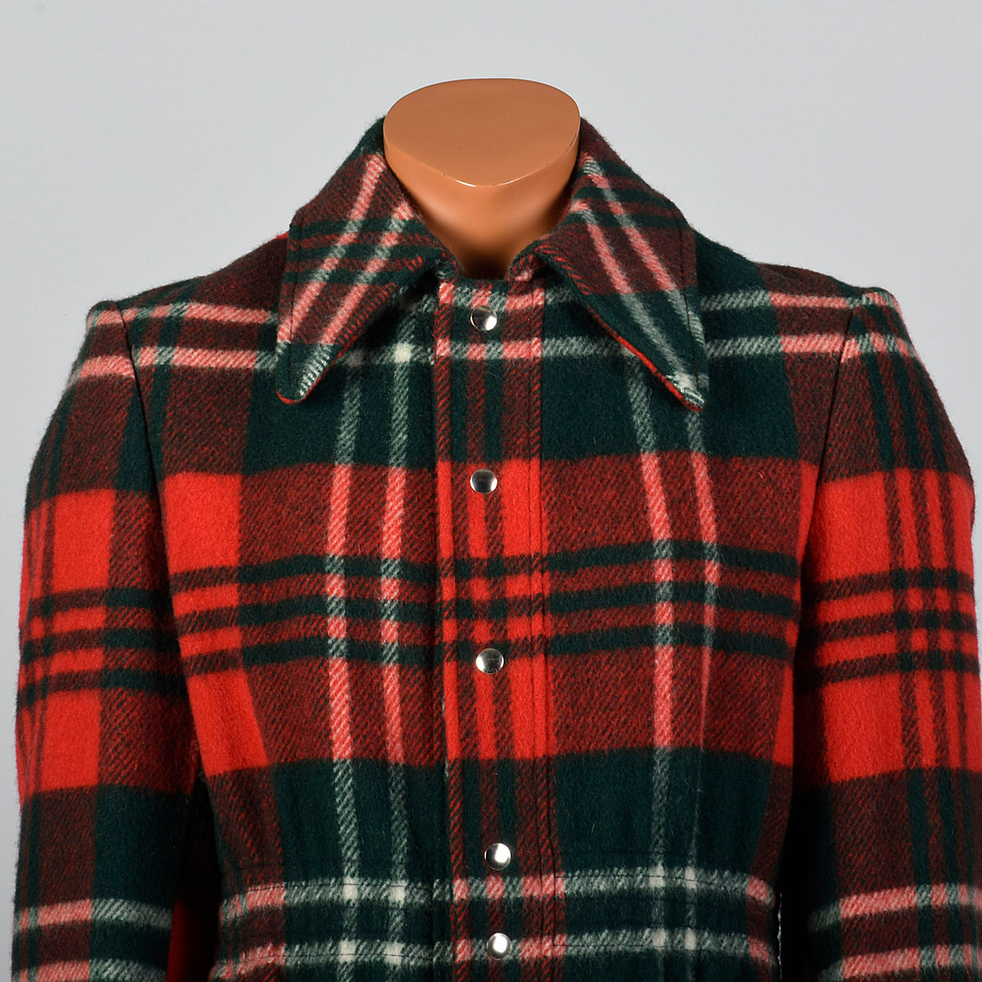 1970s Mens Wool Coat in Red and Green Plaid