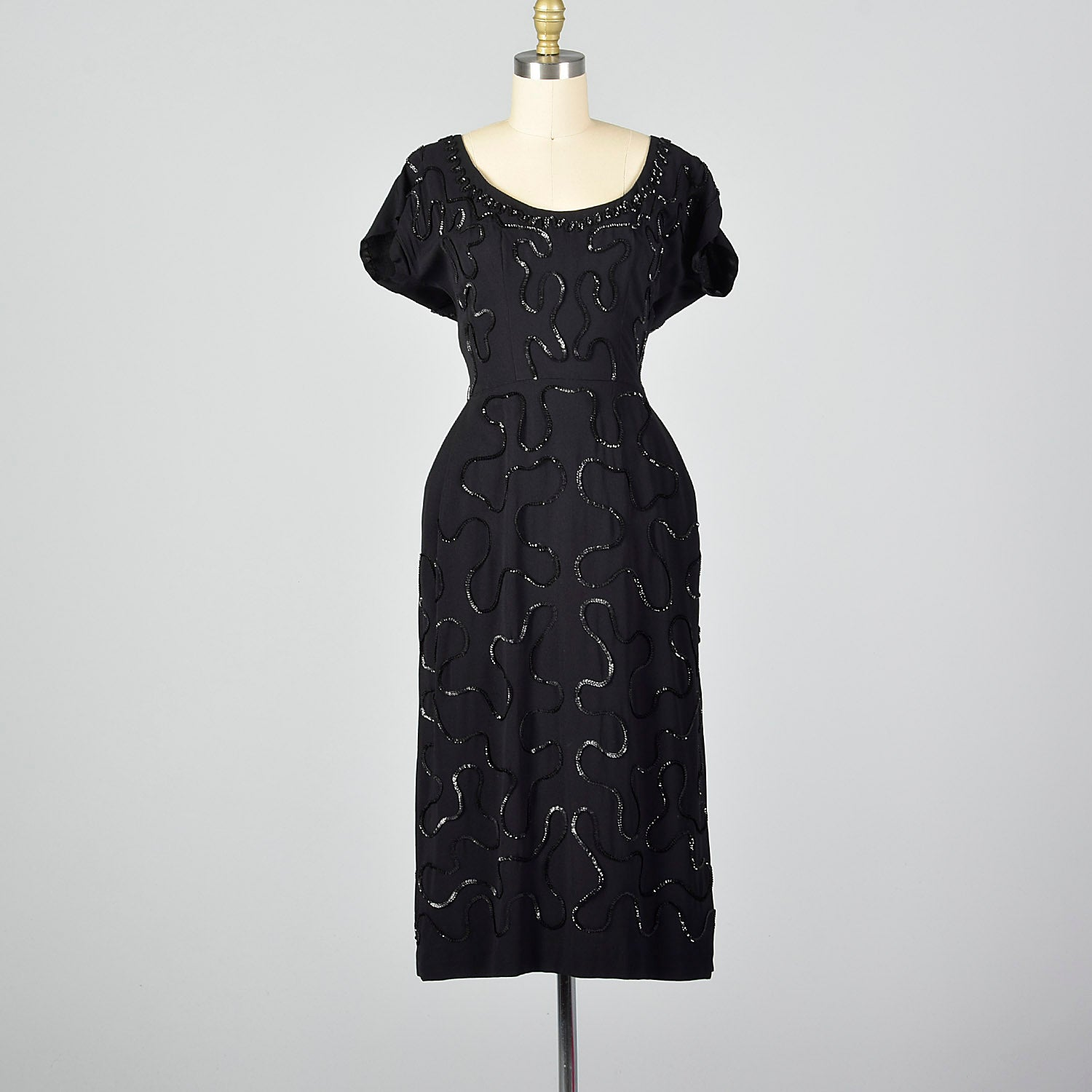 Medium 1950s Sequined Little Black Dress
