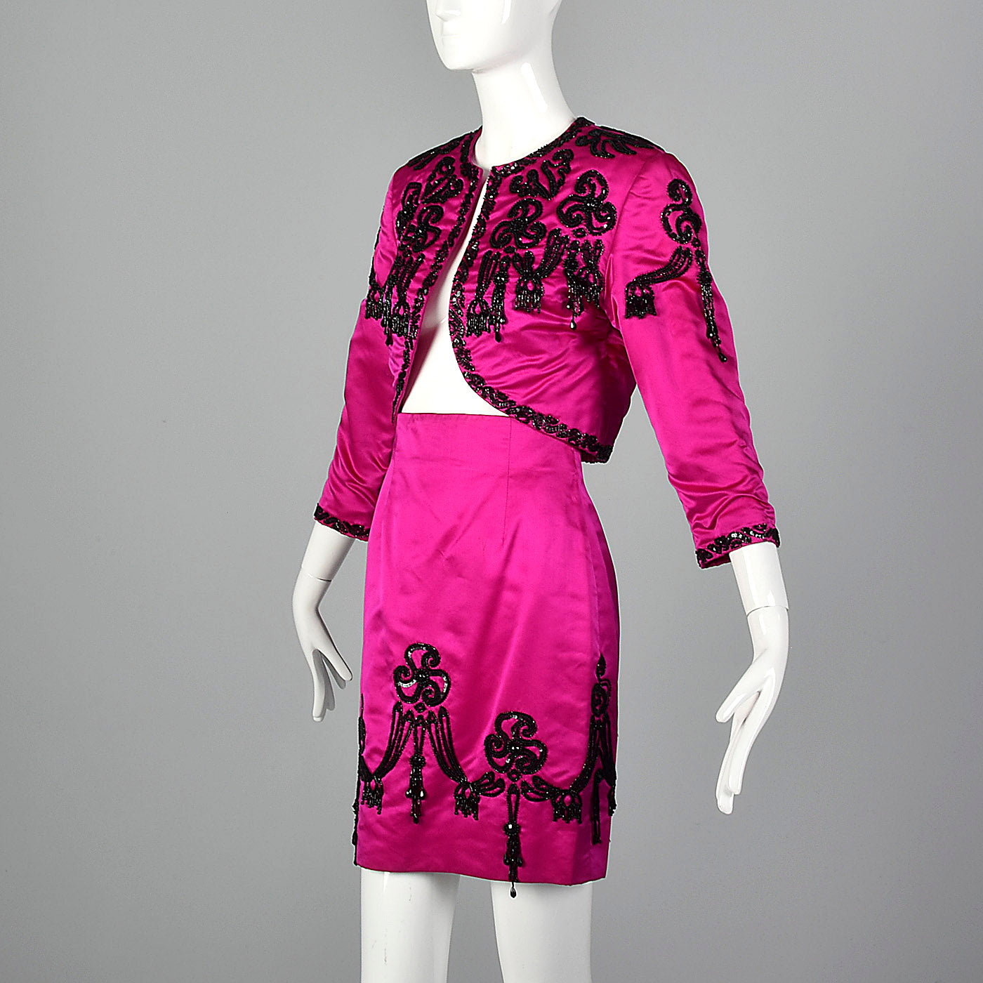 1980s Pilar Rossi Hot Pink Skirt Suit