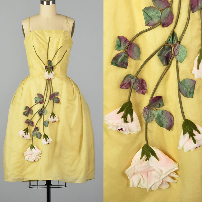 642d52bbb8d XS 1950s Yellow Rose Cocktail Dress