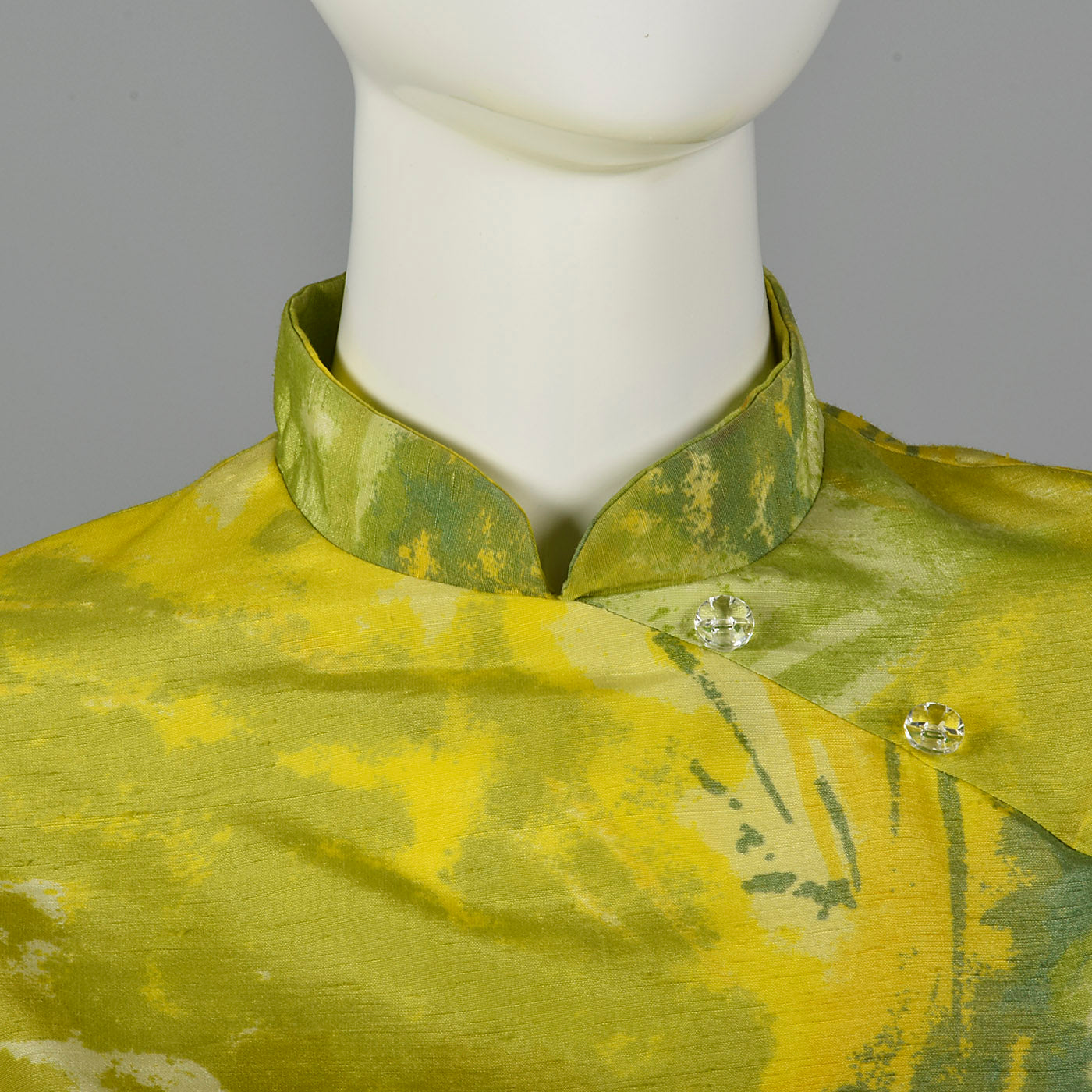1960s Green and Yellow Print Tunic and Pants Set