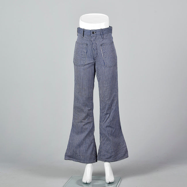 XS 1970s Blue and White Striped Bell Bottoms