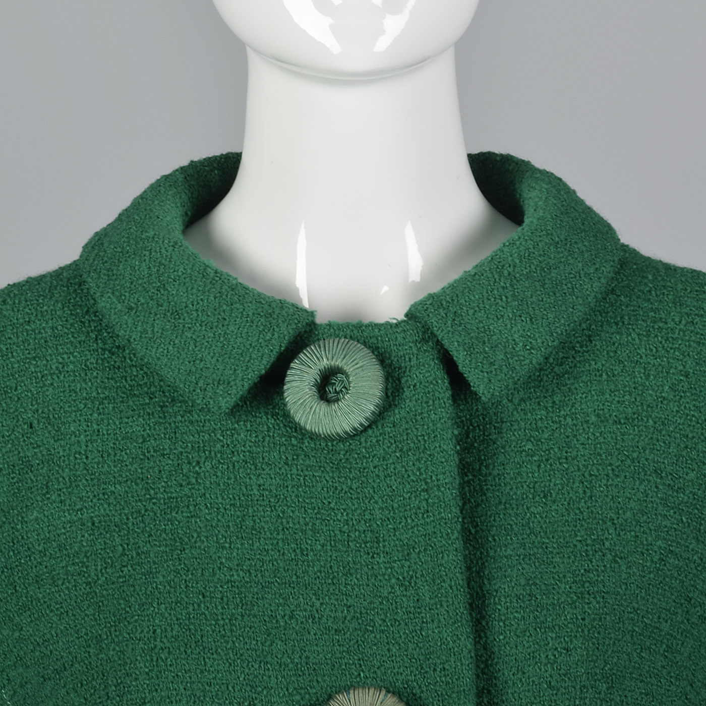 1960s Emerald Green Boucle Wool Skirt Suit