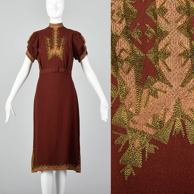 Small 1930s Wool Dress with Lamé and Embroidery