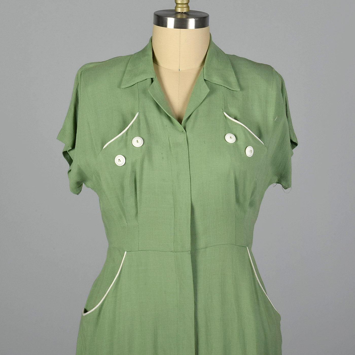 1950s Green Rayon Day Dress