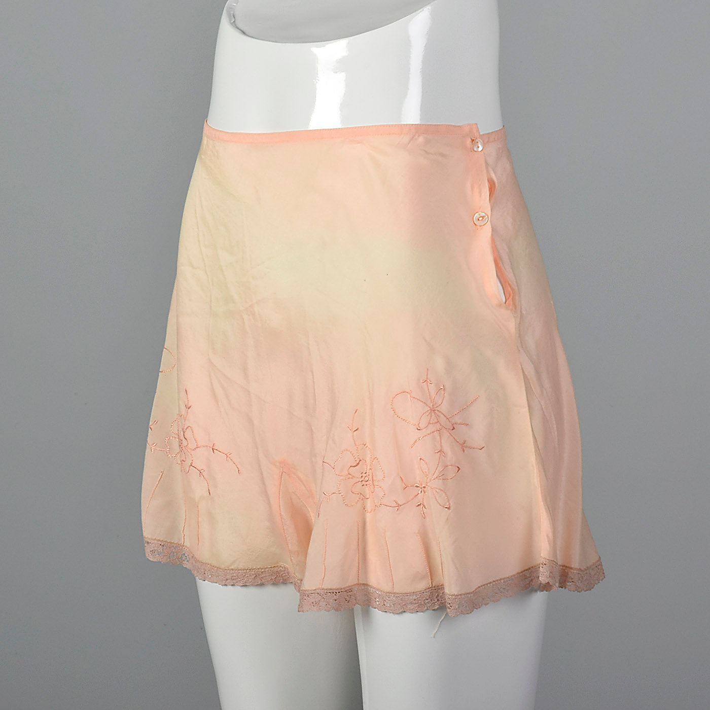 1930s Pink Slip Shorts with Floral Embroidery