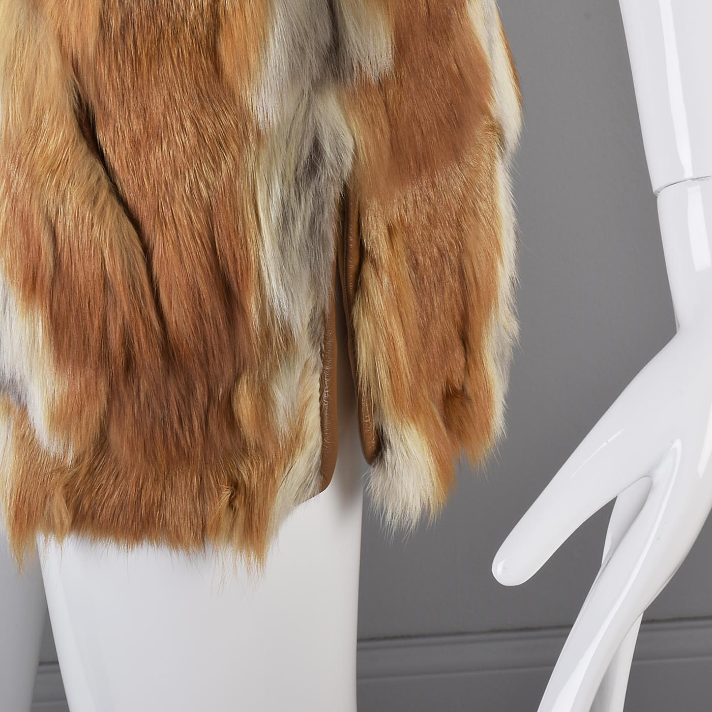 1970s Red Fox Fur Vest with Leather Trim