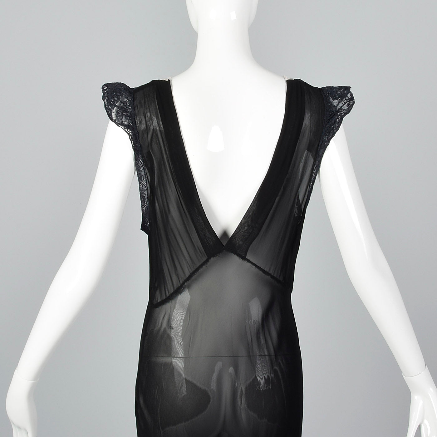 1930s Sheer Black Bias Cut Slip with White Trim