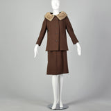 Small 1960s Brown Tweed Skirt Suit with Mink Collar