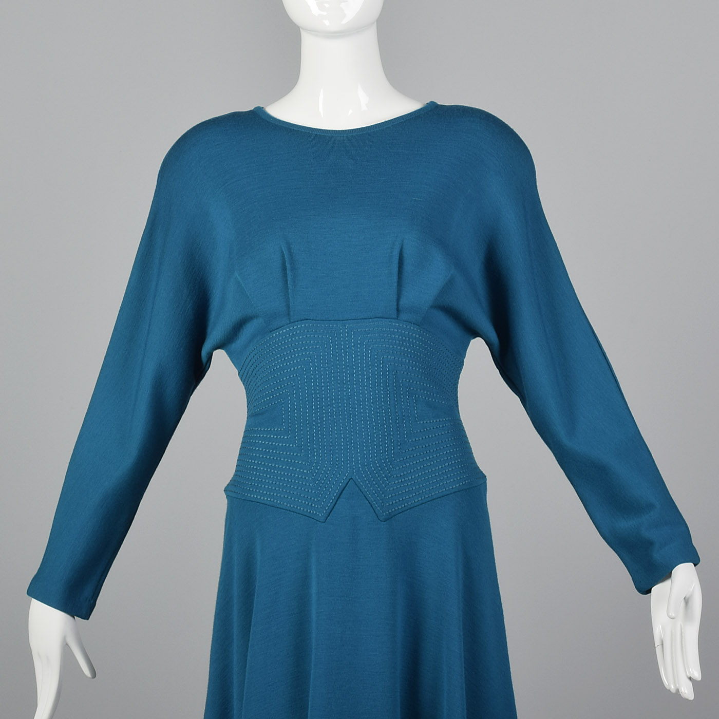 1980s Teal Wool Midi Dress