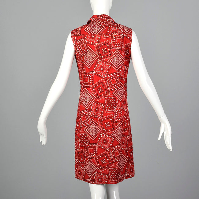 1960s Red Bandana Print Dress