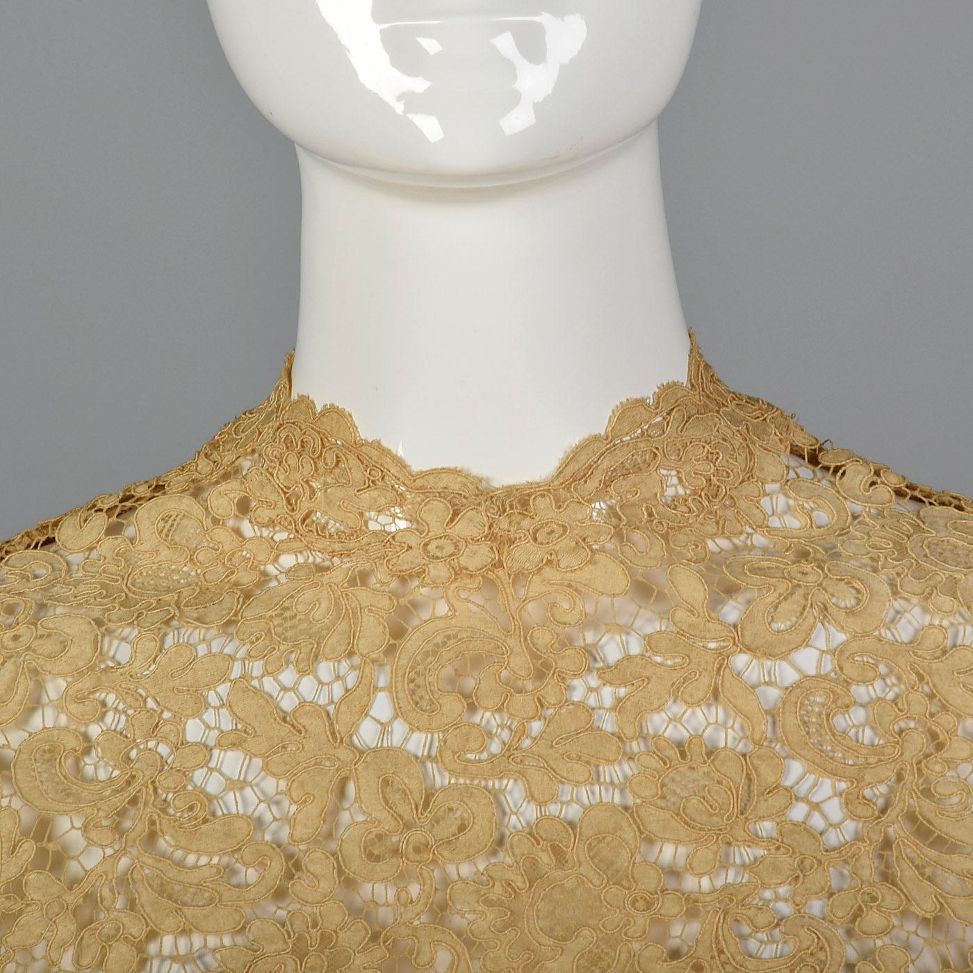 1950s Cream Lace Top with Side Zip