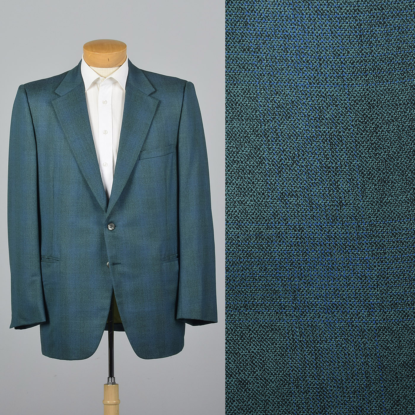 1970s Blue Green Stripe Jacket with Wide Lapels