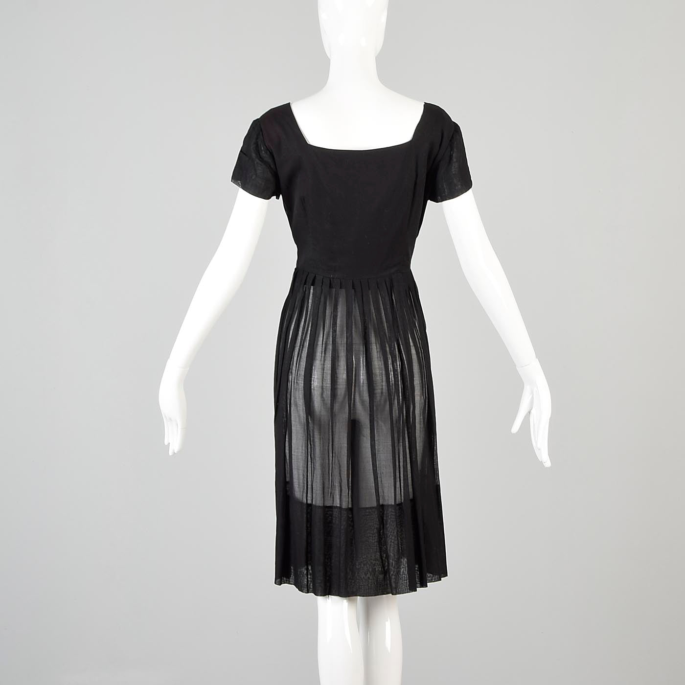 1950s Sheer Black Dress with Mother of Pearl Buttons