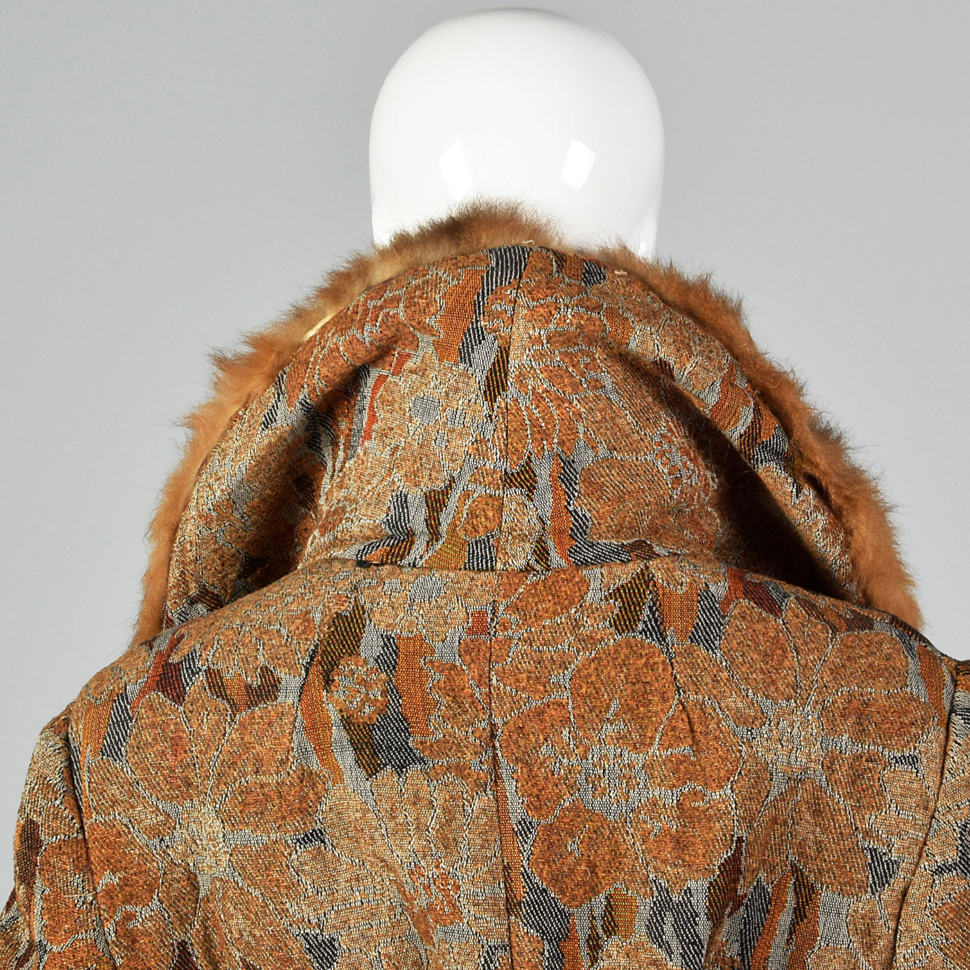 1970s Tapestry Coat with Large Fur Collar