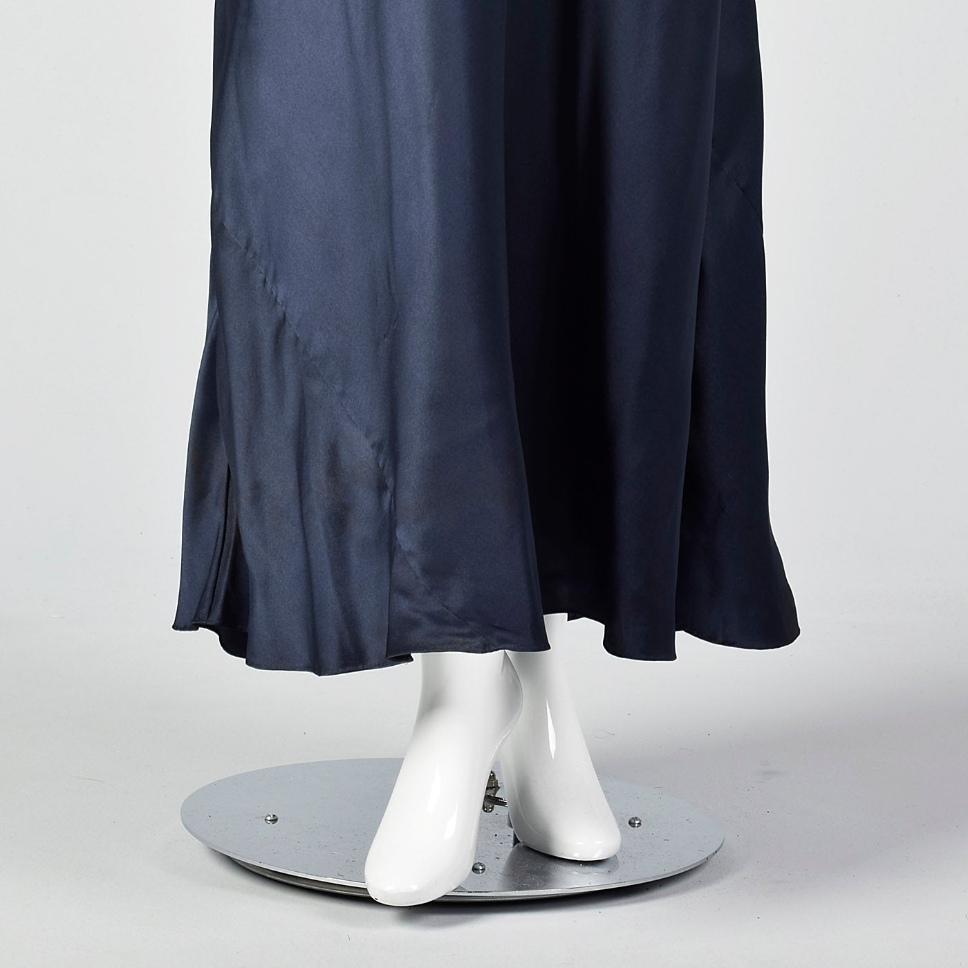 1930s Glamorous Navy Silk Dress