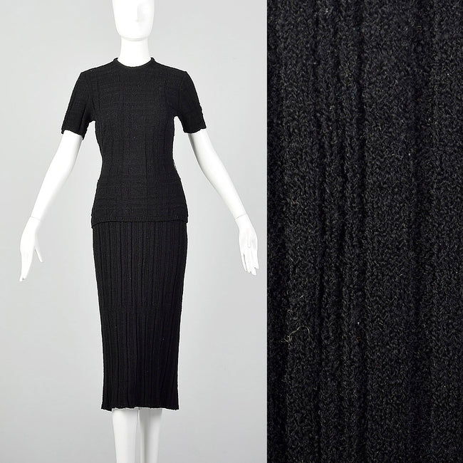 XS-Small 1940s Black Knit Skirt Set