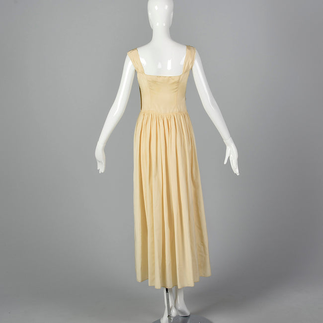 1940s Cream Taffeta Wedding Dress with Sequin Bodice