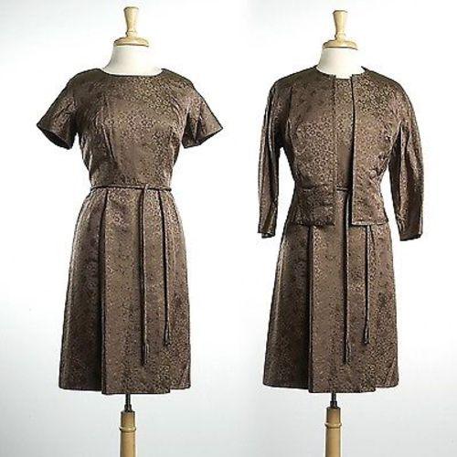 1950s Dress and Jacket Set in Floral Brocade