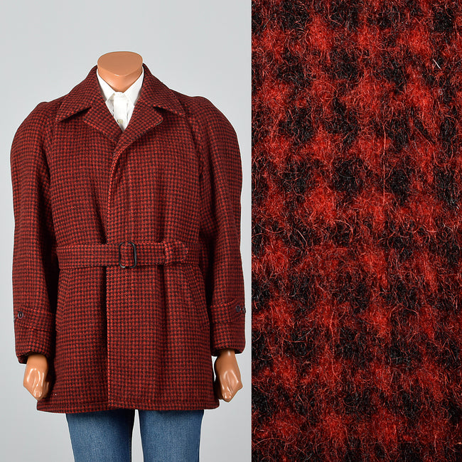 1950s Men's Red Plaid Belted Winter Workwear Coat